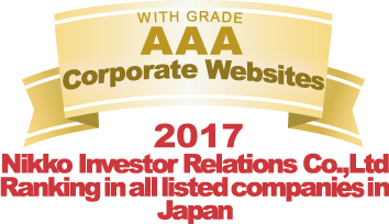 WITH GRADE AAA Corporate Websites 2017 Nikko Investor Relations Co.,Ltd. Ranking in all listed companies in Japan